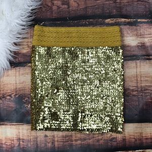 Gold Sequin Stretchy Bodycon Mini Skirt